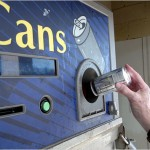 Recycle cans or use reusable water bottles