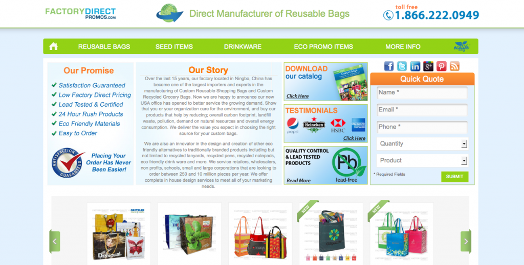 Factory Direct Promos is the Top Manufacturer of Reusable Bags