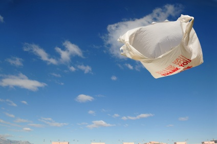 A Plastic Bag Floating in Air