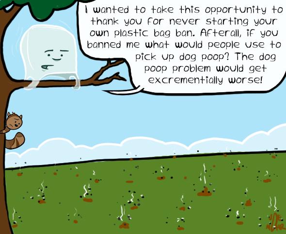 eco-friendly bag ban cartoon