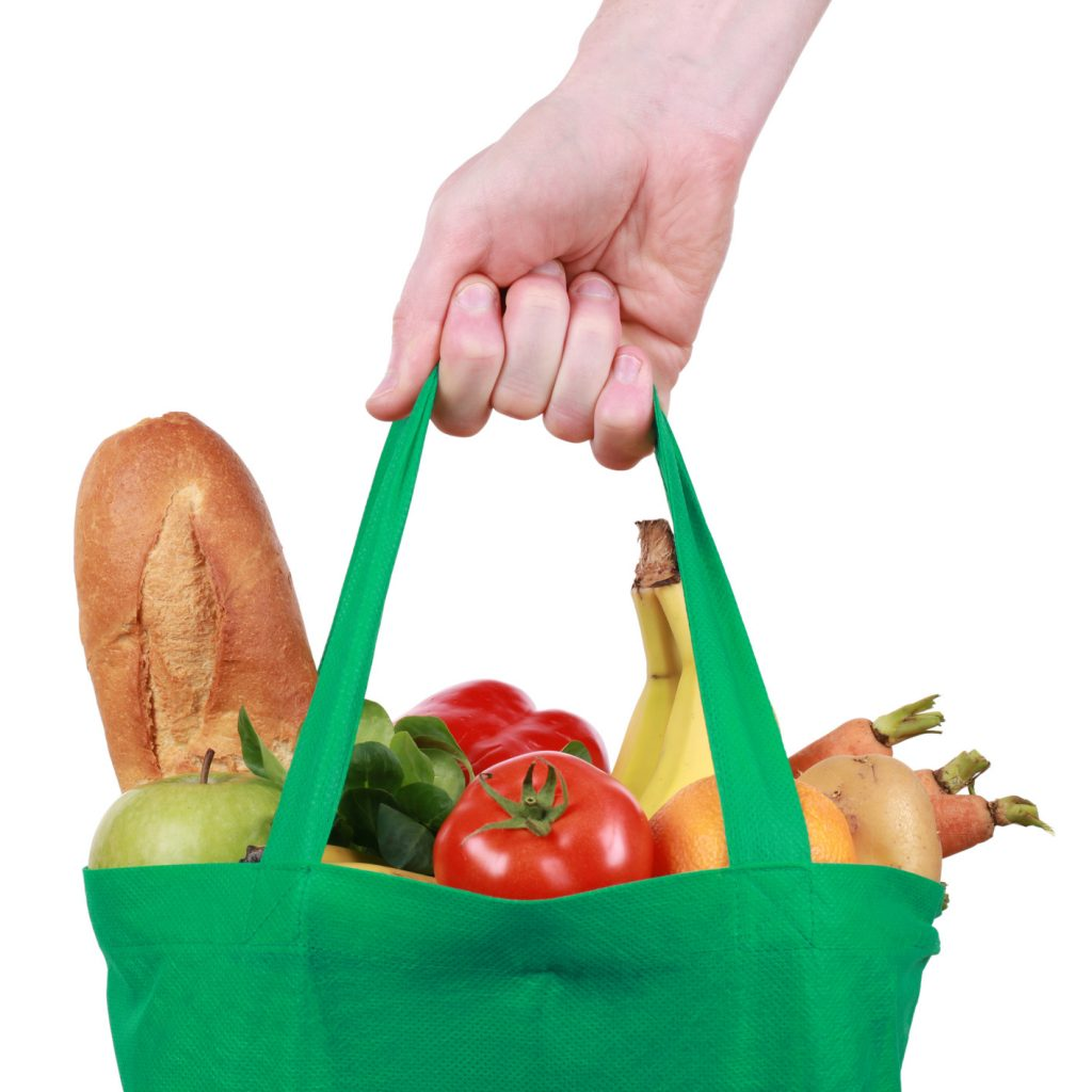 Reusable Grocery Bag Filled with Food