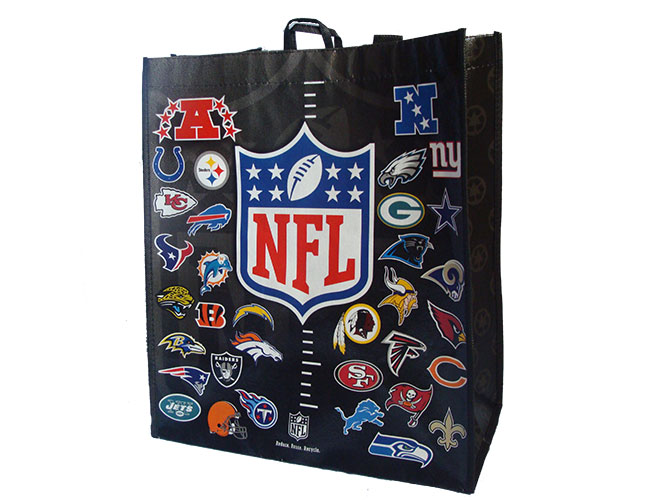 Custom Reusable Grocery Bag with company logo and branding for a sporting league