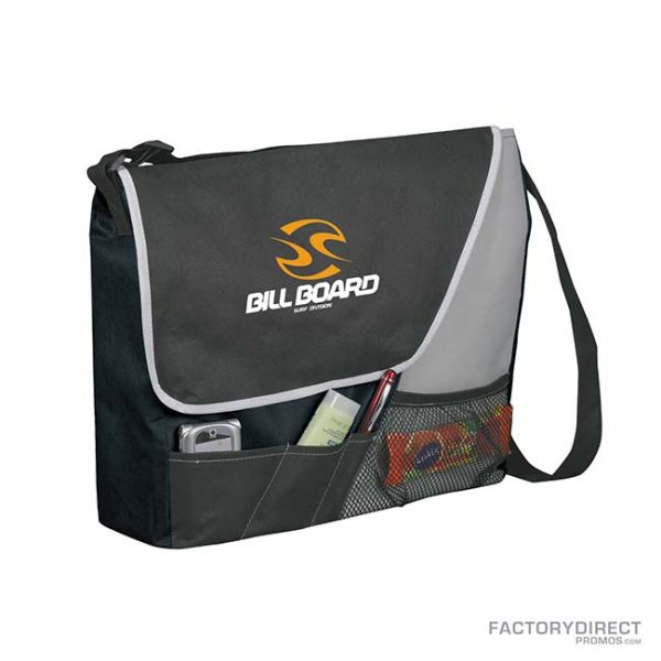 Custom branded black messenger bags with shoulder strap and exterior pockets. Corner view.