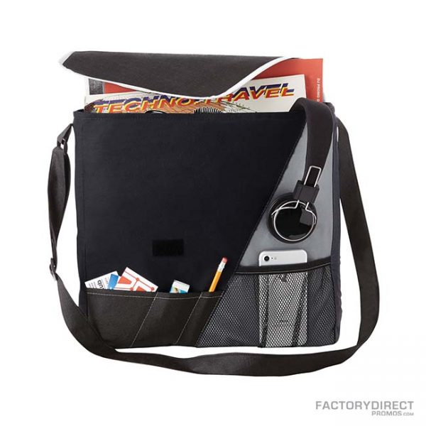 Custom branded black messenger bags with shoulder strap and exterior pockets. Opened view.