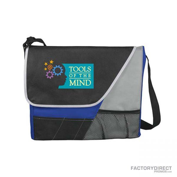 Custom branded royal blue messenger bags with shoulder strap and exterior pockets.