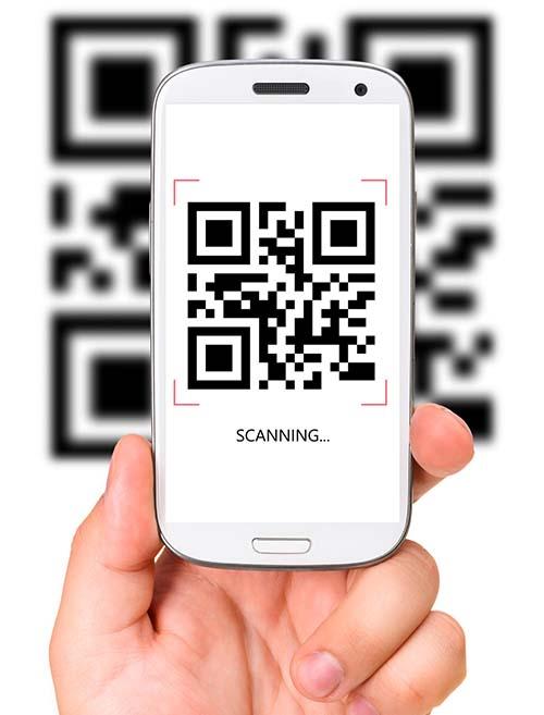 Phone scanning a QR code.