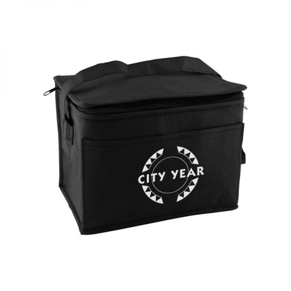 Custom printed black insulated lunch tote bag