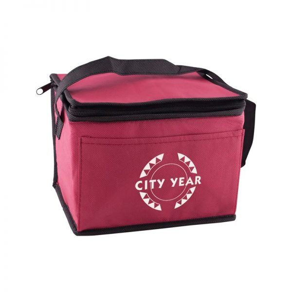 Custom printed burgundy insulated lunch tote bag
