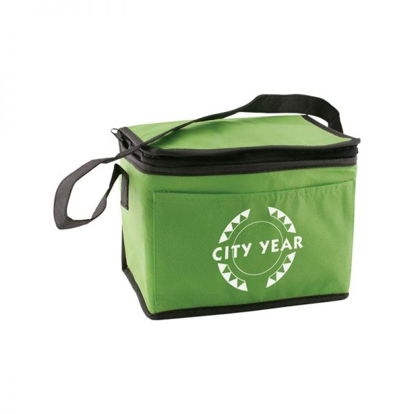 Custom printed hunter green insulated lunch tote bag