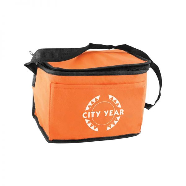 Custom printed orange insulated lunch tote bag
