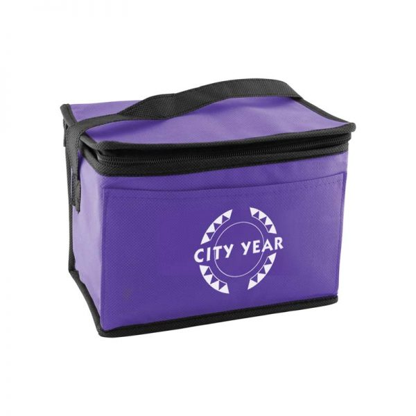 Custom printed purple insulated lunch tote bag