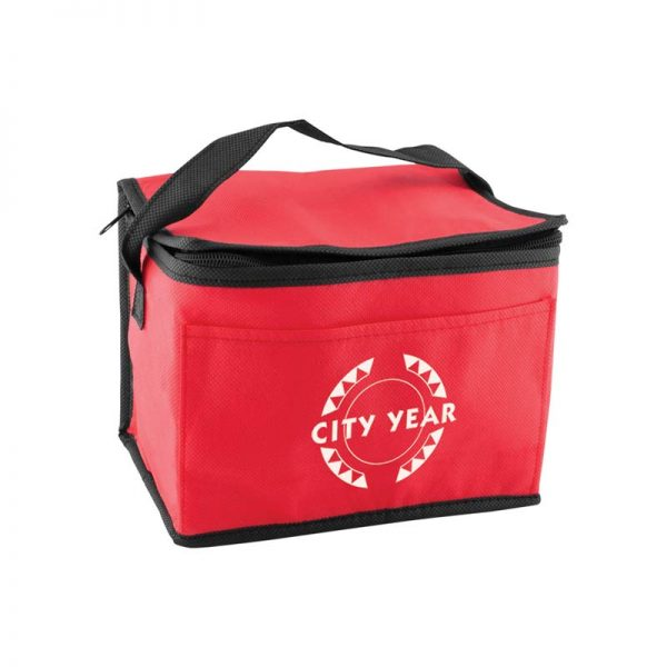 Custom printed red insulated lunch tote bag