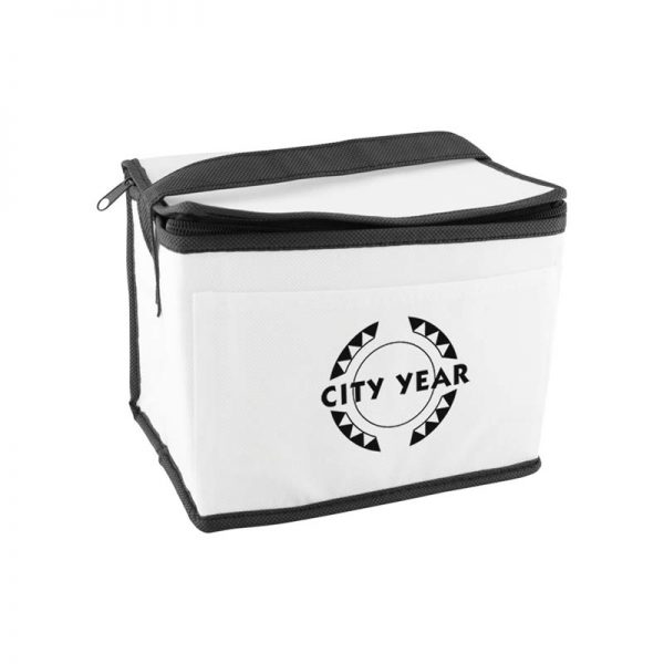 Custom printed white insulated lunch tote bag