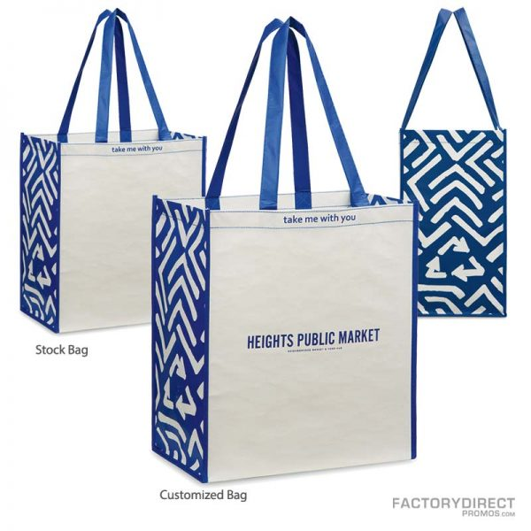 Predesigned Reusable Customizable Grocery Bags - Blue