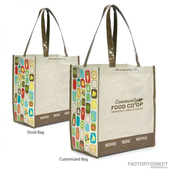 Predesigned Reusable Customizable Grocery Bags - Natural/Brown/Organic