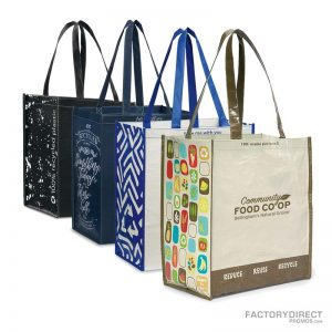 Attractive Predesigned Reusable Grocery Bags that can be custom printed with a logo or company branding message.