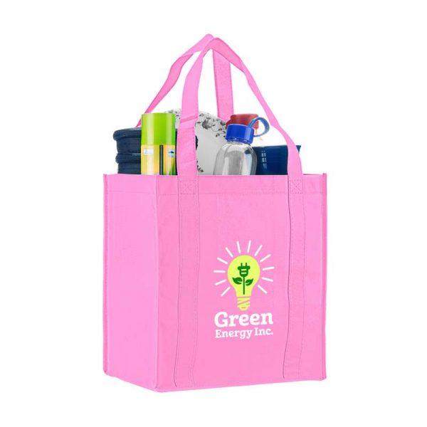Logo promotional grocery tote - Pink