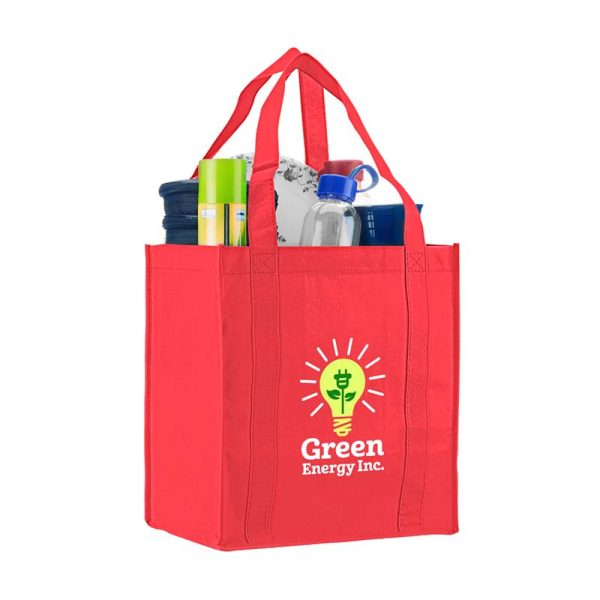 Logo promotional grocery tote - Red