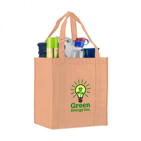 Logo promotional grocery tote - Tan