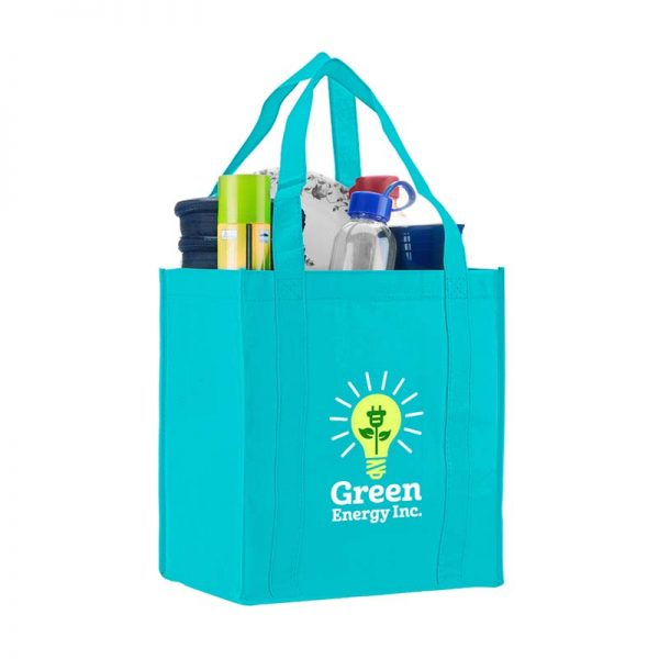 Logo promotional grocery tote - Teal