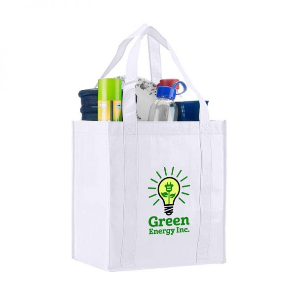 Logo promotional grocery tote - White