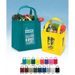 Non-Woven Grocery Bags - Available Bag Color Options for Custom Imprinting