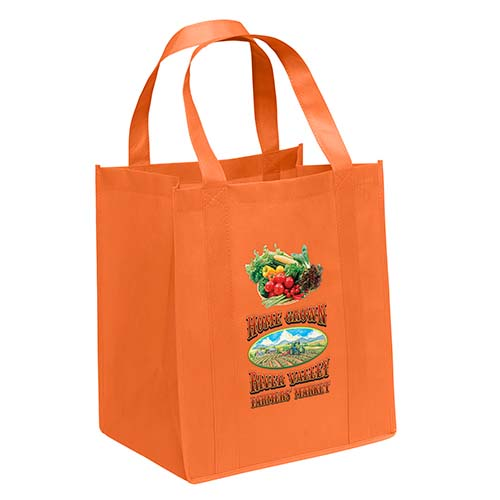 Non-Woven Grocery Orange Bags - Custom Full Color Imprint