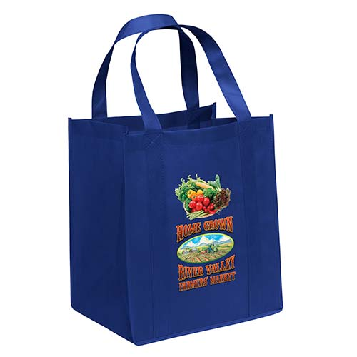 Non-Woven Grocery Royal Blue Bags - Custom Full Color Imprint
