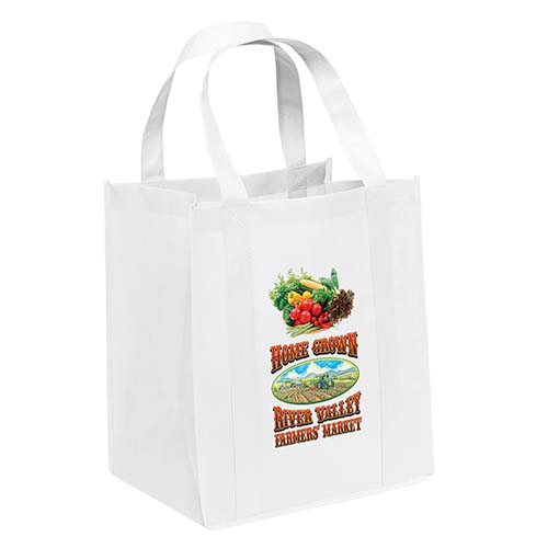 Non-Woven Grocery White Bags - Custom Full Color Imprint