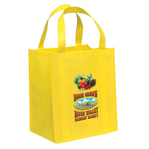 Non-Woven Grocery Yellow Bags - Custom Full Color Imprint
