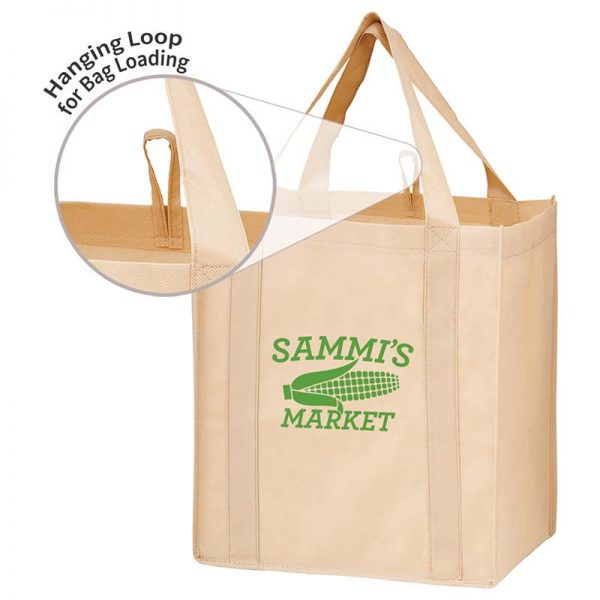 All-In-One Grocery Bag with interior bottle compartment holders, pockets and a hanging loop - Tan