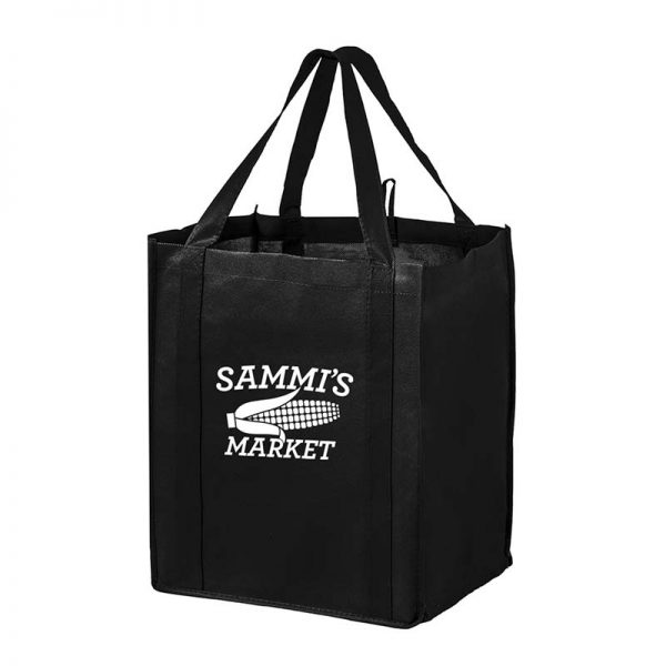 All-In-One Grocery Bag with interior bottle compartment holders, pockets and a hanging loop - Black