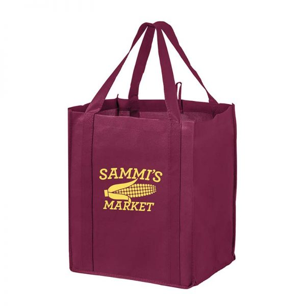 All-In-One Grocery Bag with interior bottle compartment holders, pockets and a hanging loop - Burgundy