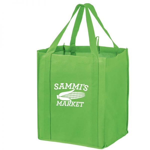 All-In-One Grocery Bag with interior bottle compartment holders, pockets and a hanging loop - Lime