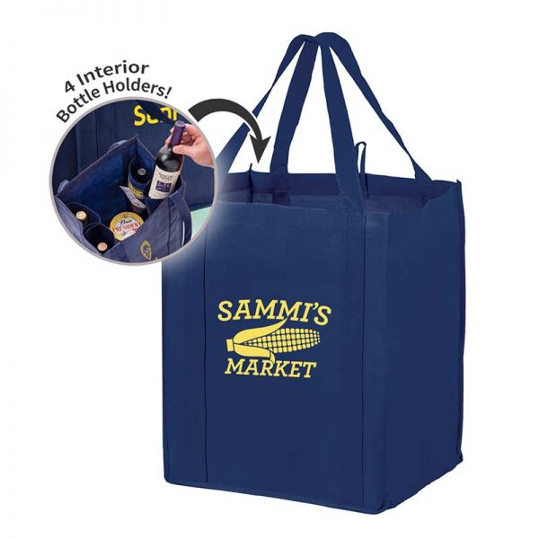 All-In-One Grocery Bag with interior bottle compartment holders, pockets and a hanging loop - Navy