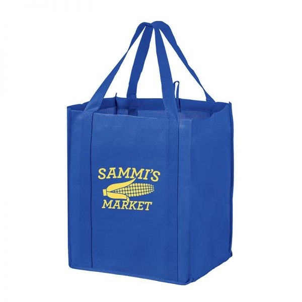 All-In-One Grocery Bag with interior bottle compartment holders, pockets and a hanging loop - Royal Blue
