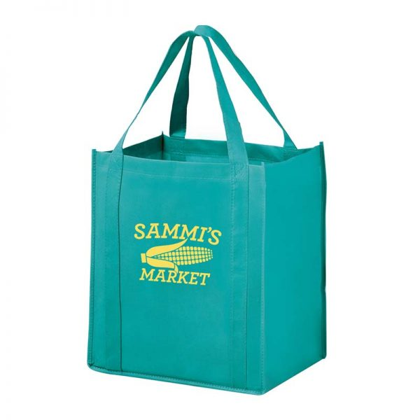 All-In-One Grocery Bag with interior bottle compartment holders, pockets and a hanging loop - Teal