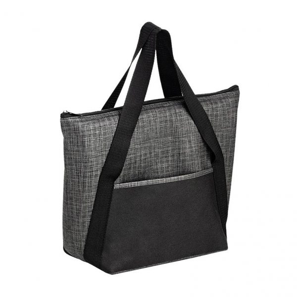 Gray Black insulated tote bag customizable with logo imprint