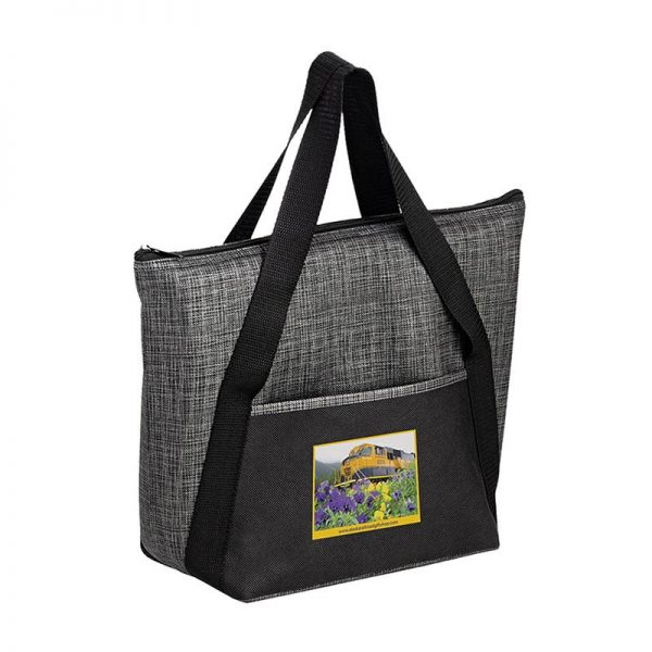 Gray Black insulated tote bag customizable with full color art imprint