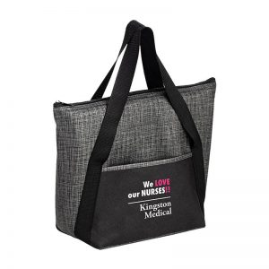 Gray Black insulated tote bag custom logo imprint