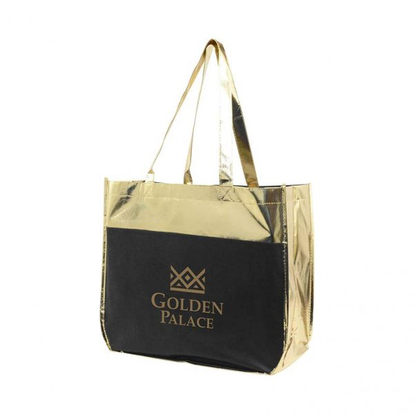 Metallic Shopper Tote - Black and Gold