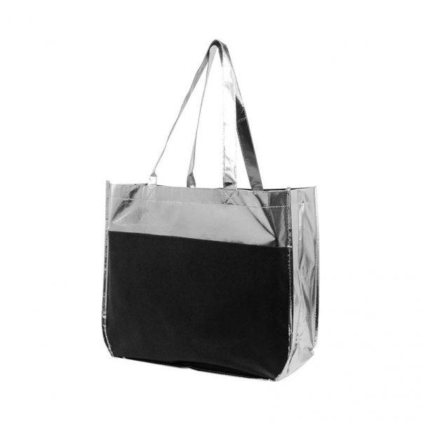 Metallic Shopper Tote - Black with Silver