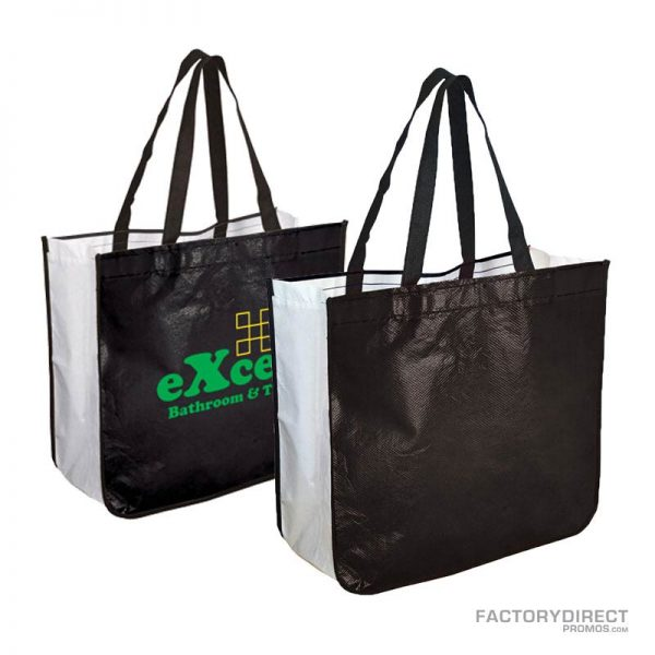 Large black custom shopping bag made from recycled post consumer materials.