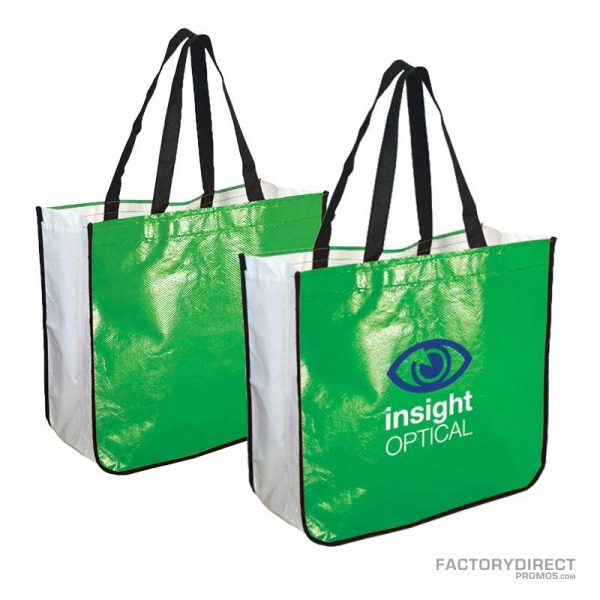 Large lime green custom shopping bag made from recycled post consumer materials.