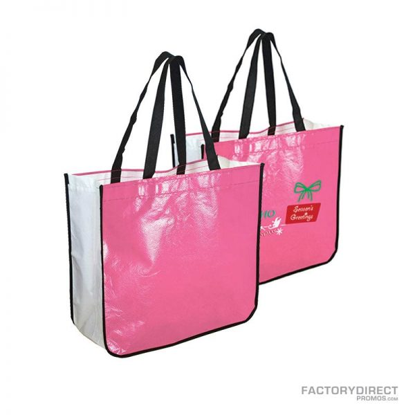 Large pink custom shopping bag made from recycled post consumer materials.