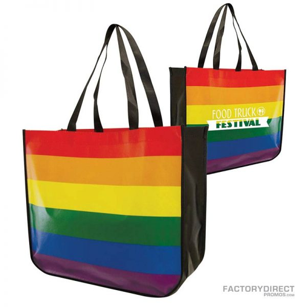 Large rainbow colored custom shopping bag made from recycled post consumer materials.