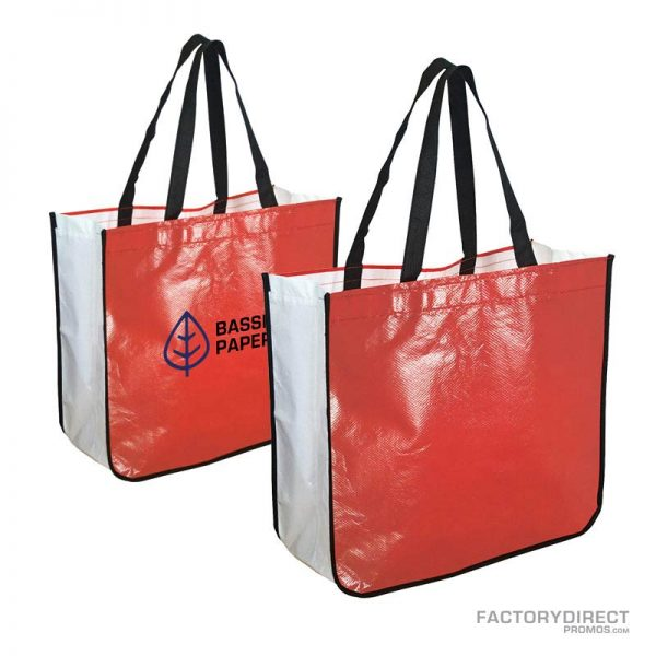 Large red custom shopping bag made from recycled post consumer materials.