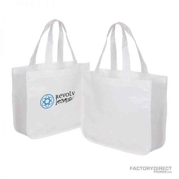Large white custom shopping bag made from recycled post consumer materials.