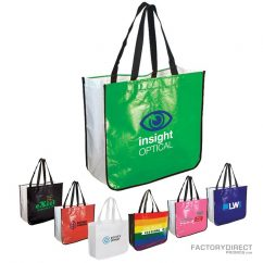 Large assortment of custom shopping bag made from recycled post consumer materials.