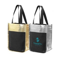 Metallic Mini Tote Bags with multi-functional sleeves for wine bottles and more.